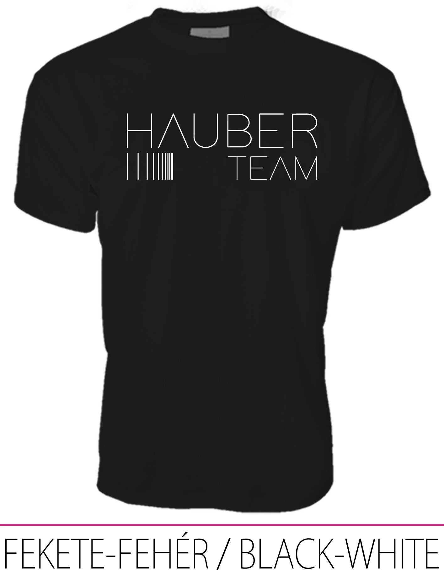 MEN CREW NECK T-SHIRT / HAUBER TEAM BLACK-WHITE