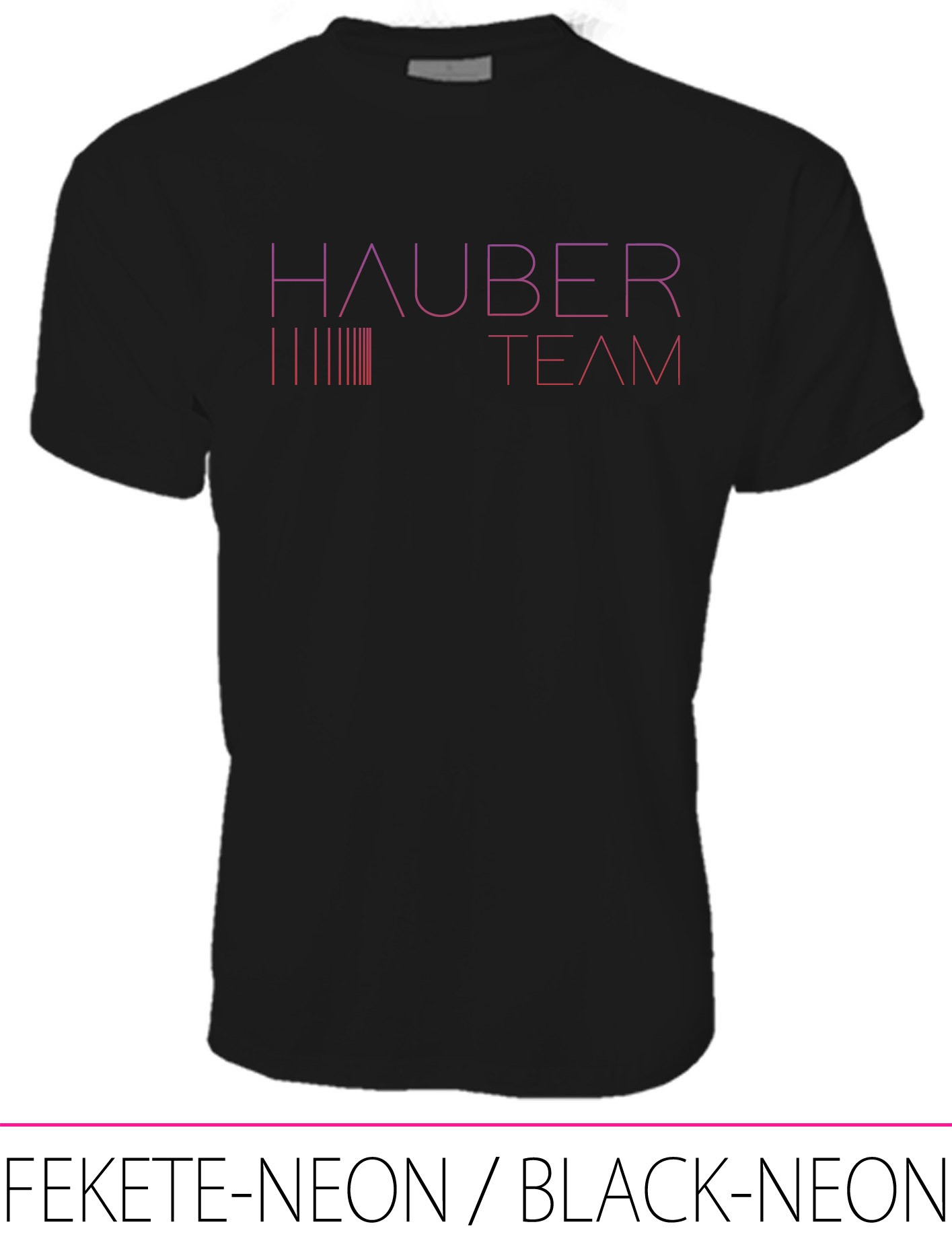 MEN CREW NECK T-SHIRT / HAUBER TEAM BLACK-NEON