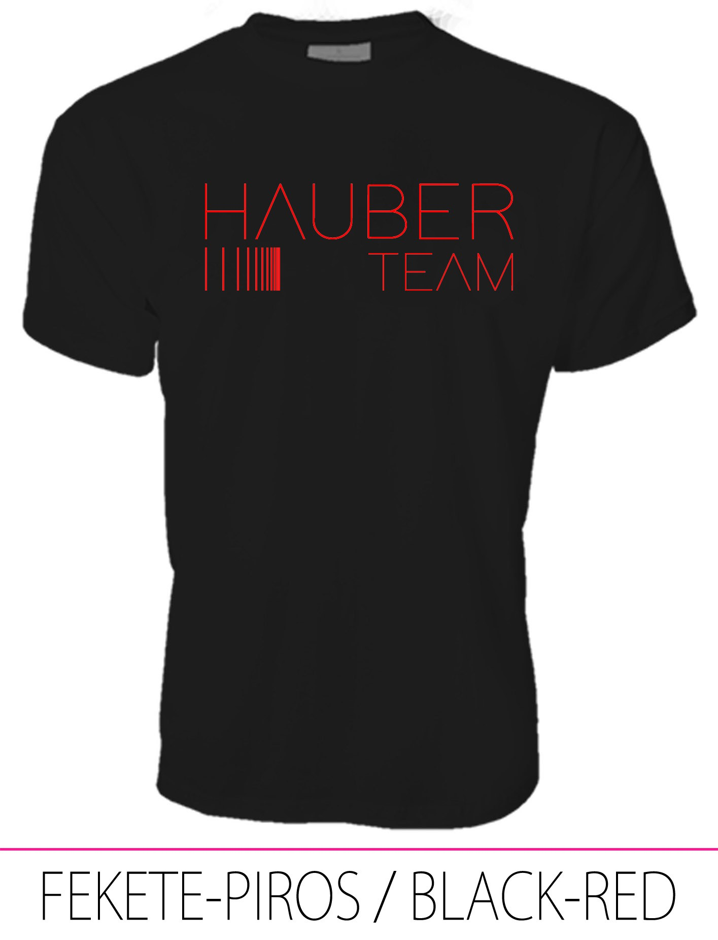 MEN CREW NECK T-SHIRT / HAUBER TEAM BLACK-RED