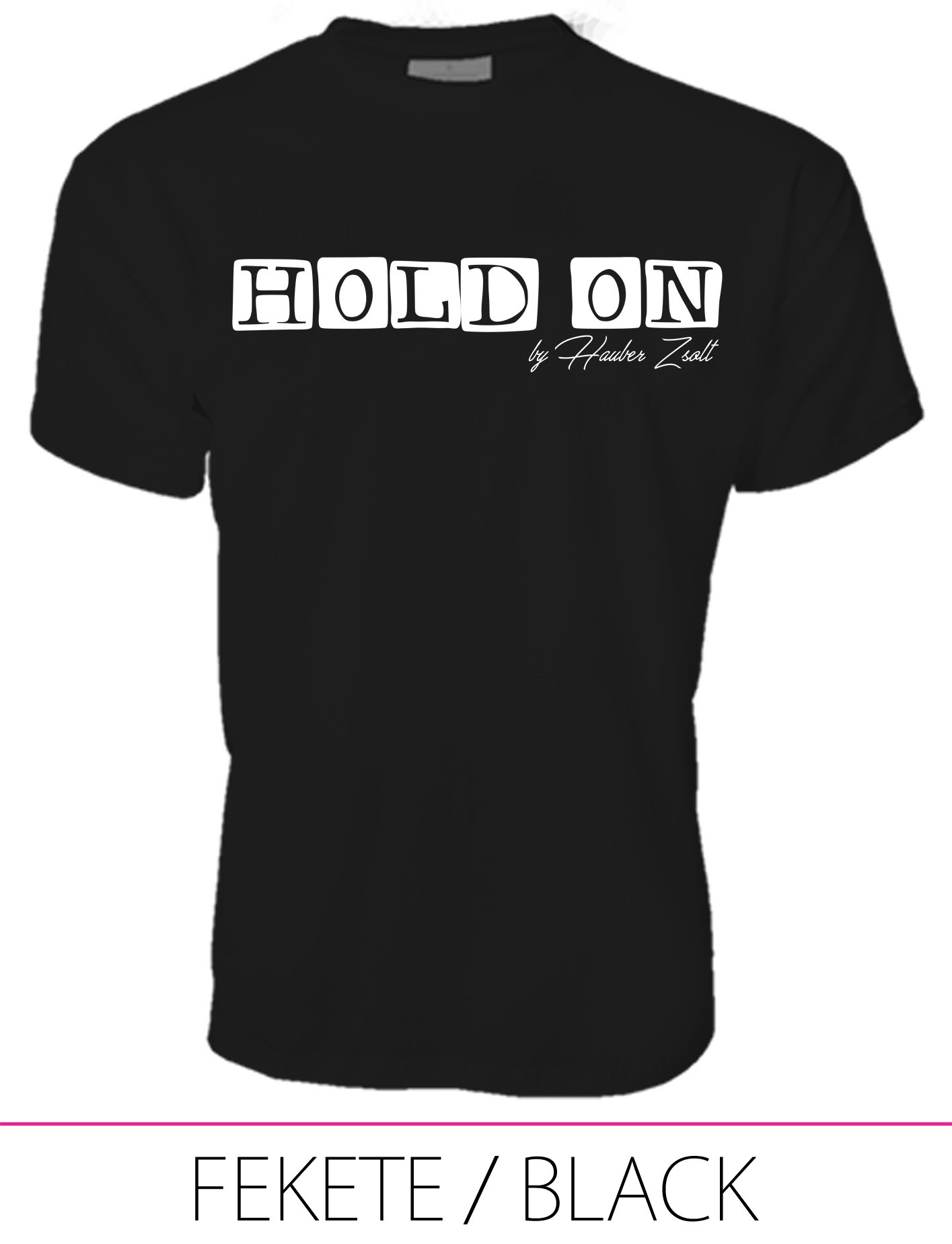 MEN CREW NECK T-SHIRT / HOLD ON BLACK