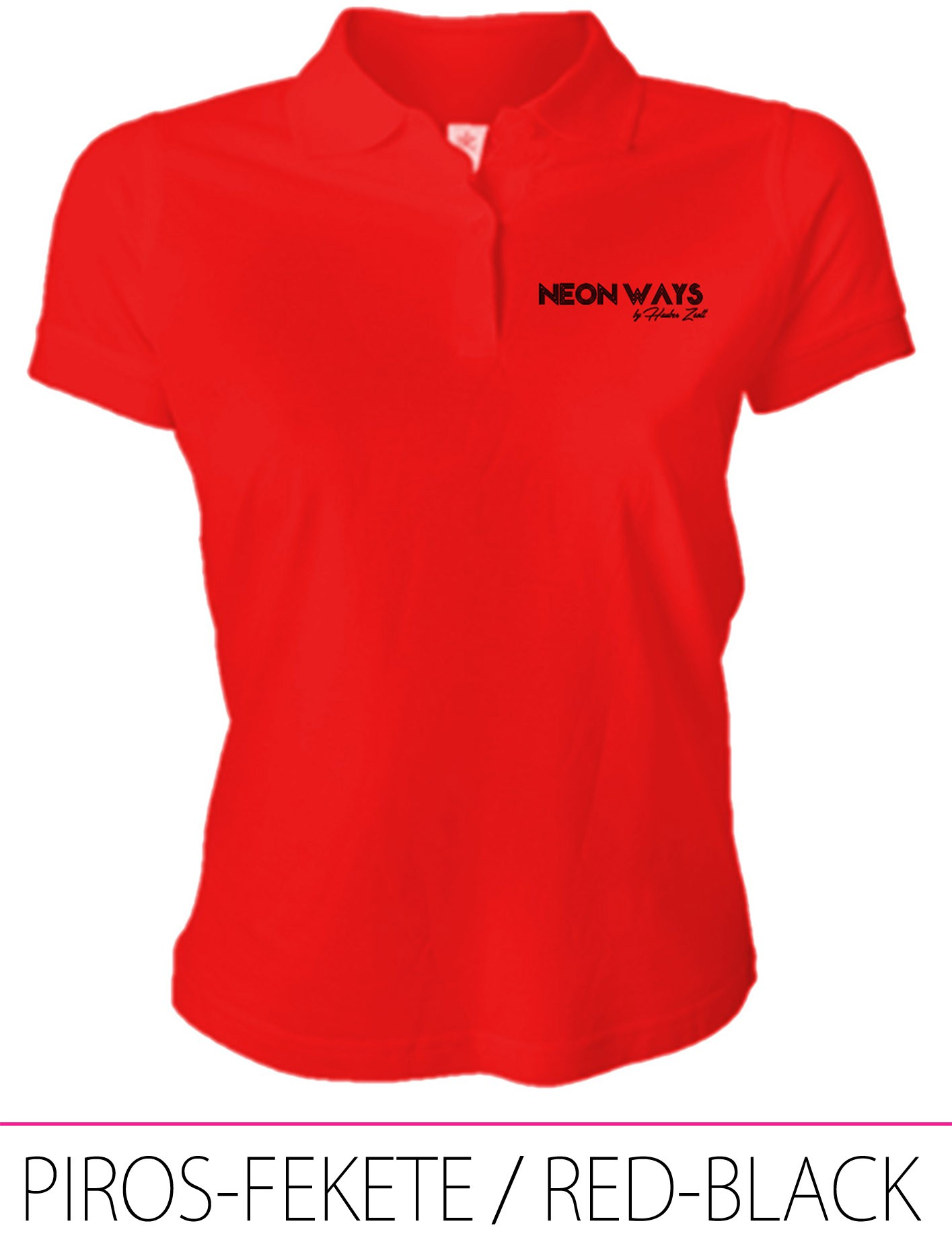 LADIES POLO RED-BLACK