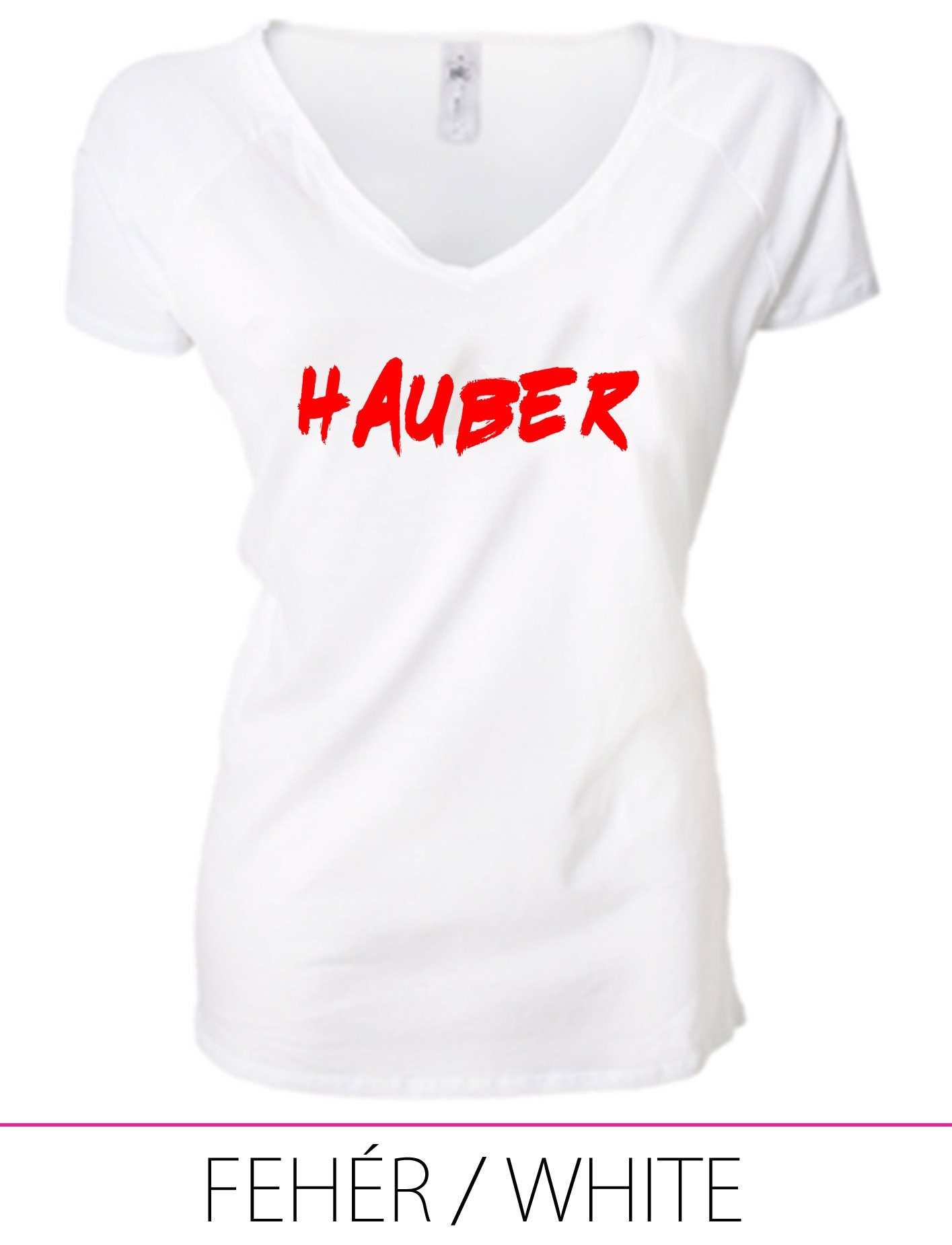 LADIES PREMIUM V NECK T-SHIRT HAUBER WHITE