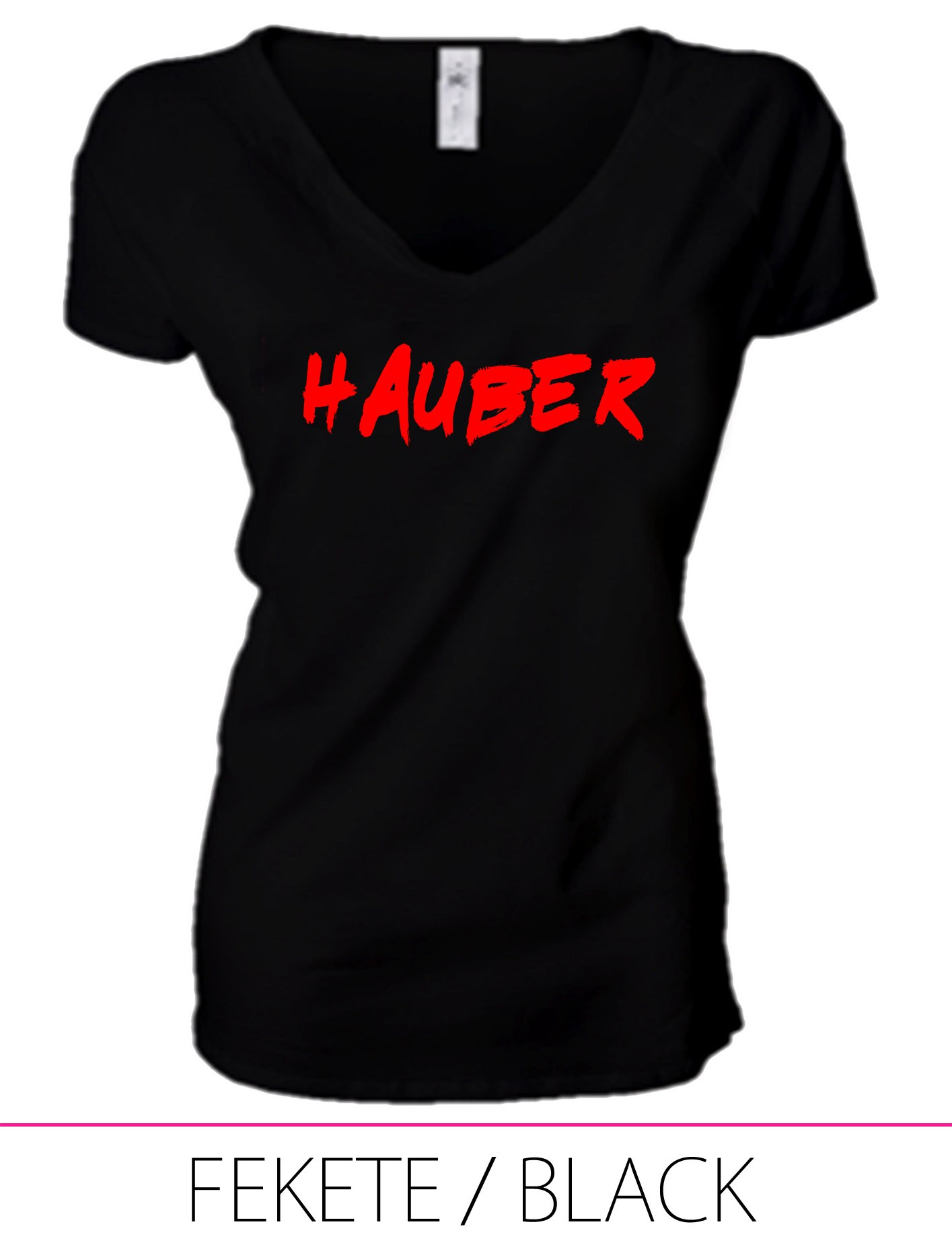 LADIES PREMIUM V NECK T-SHIRT HAUBER BLACK