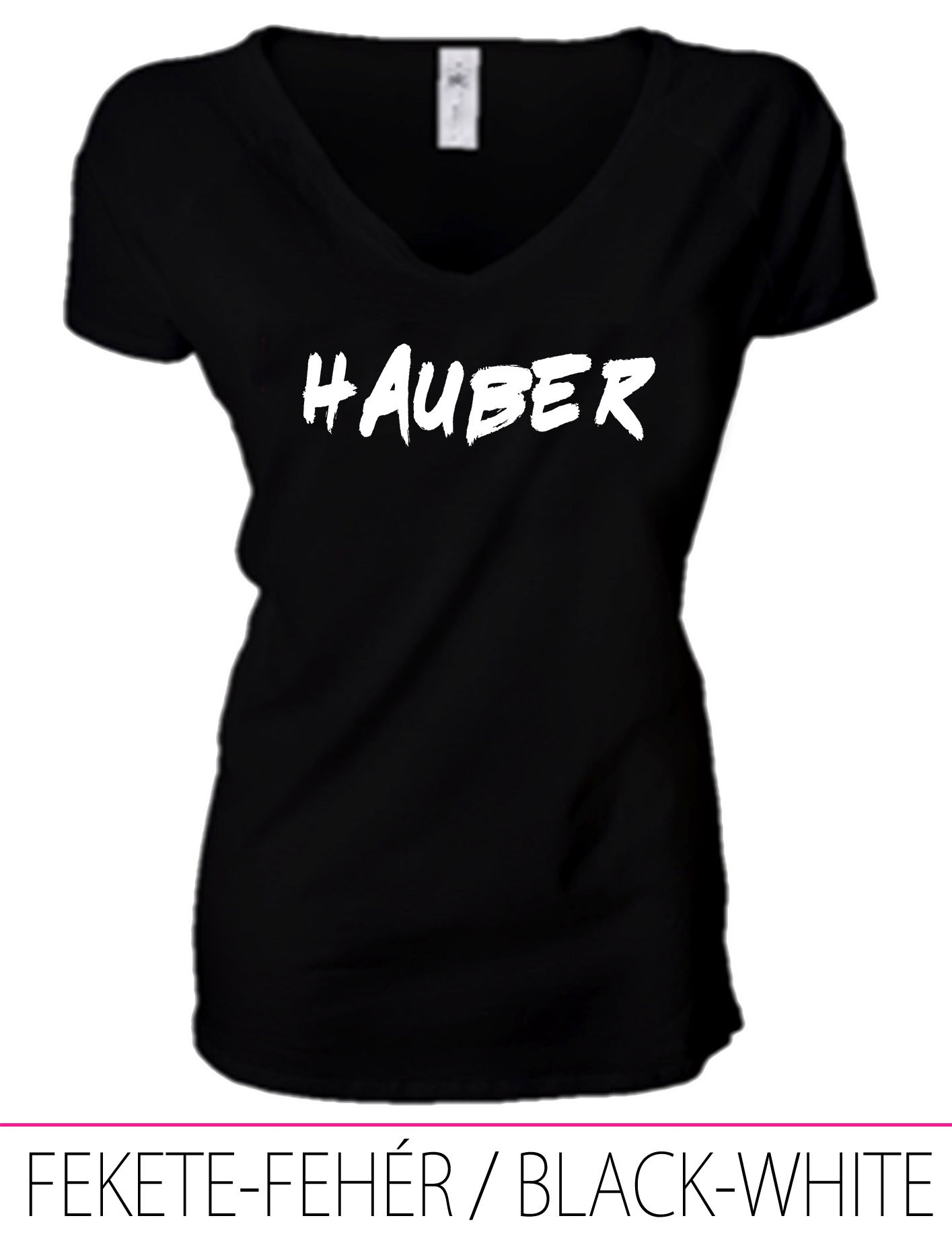 LADIES PREMIUM V NECK T-SHIRT HAUBER BLACK-WHITE