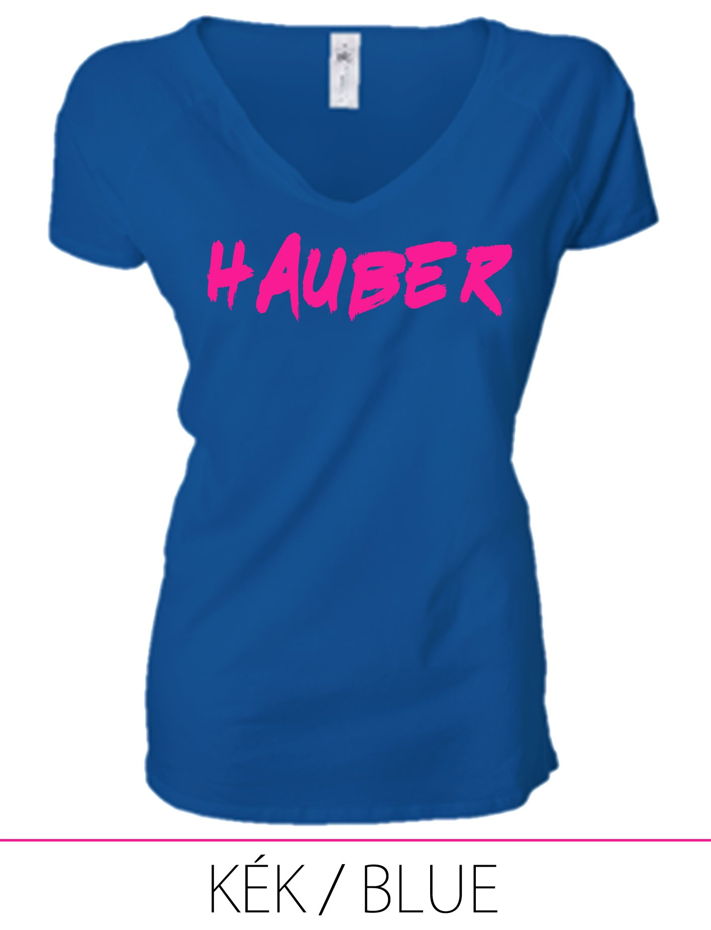 LADIES PREMIUM V NECK T-SHIRT HAUBER BLUE