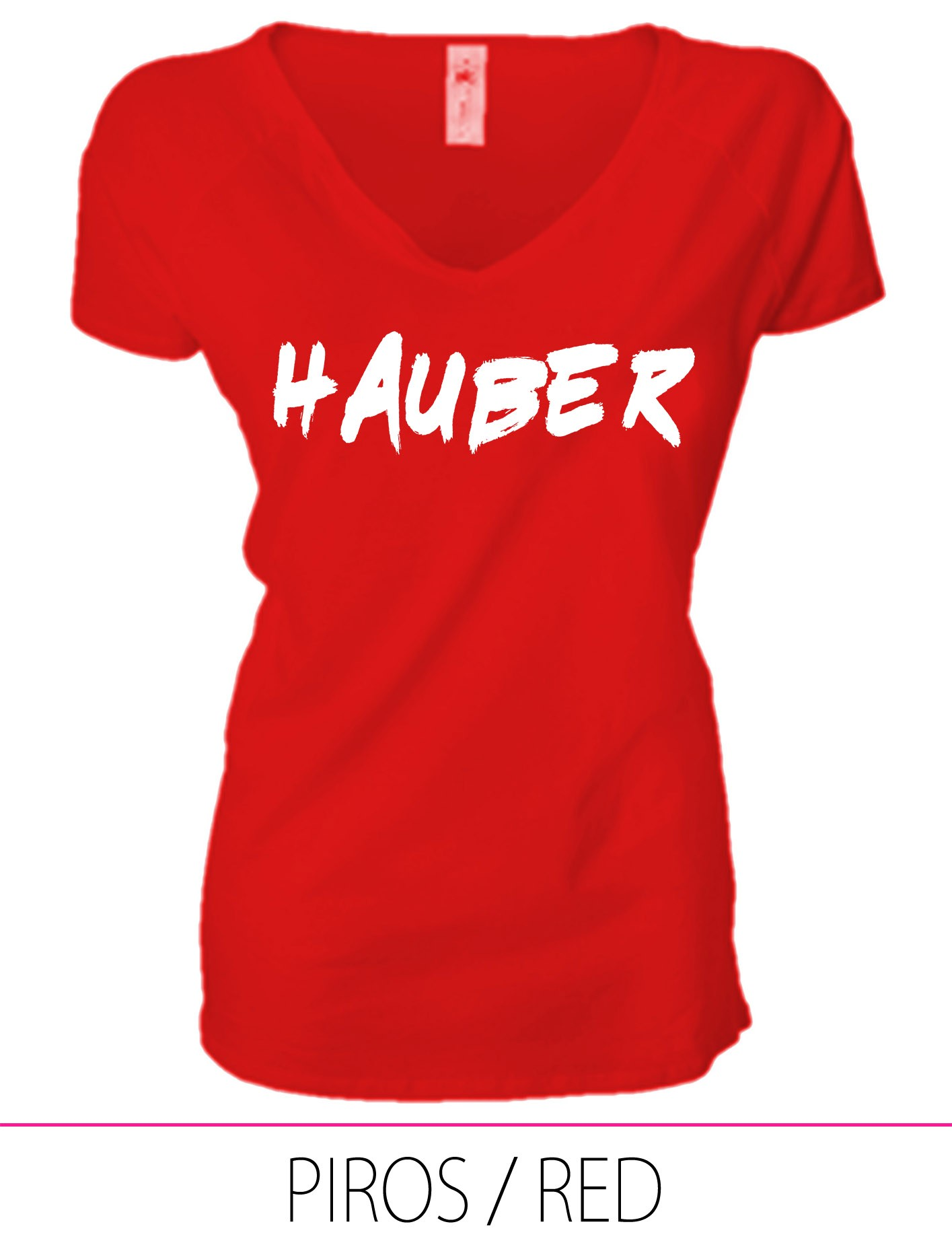 LADIES PREMIUM V NECK T-SHIRT HAUBER RED