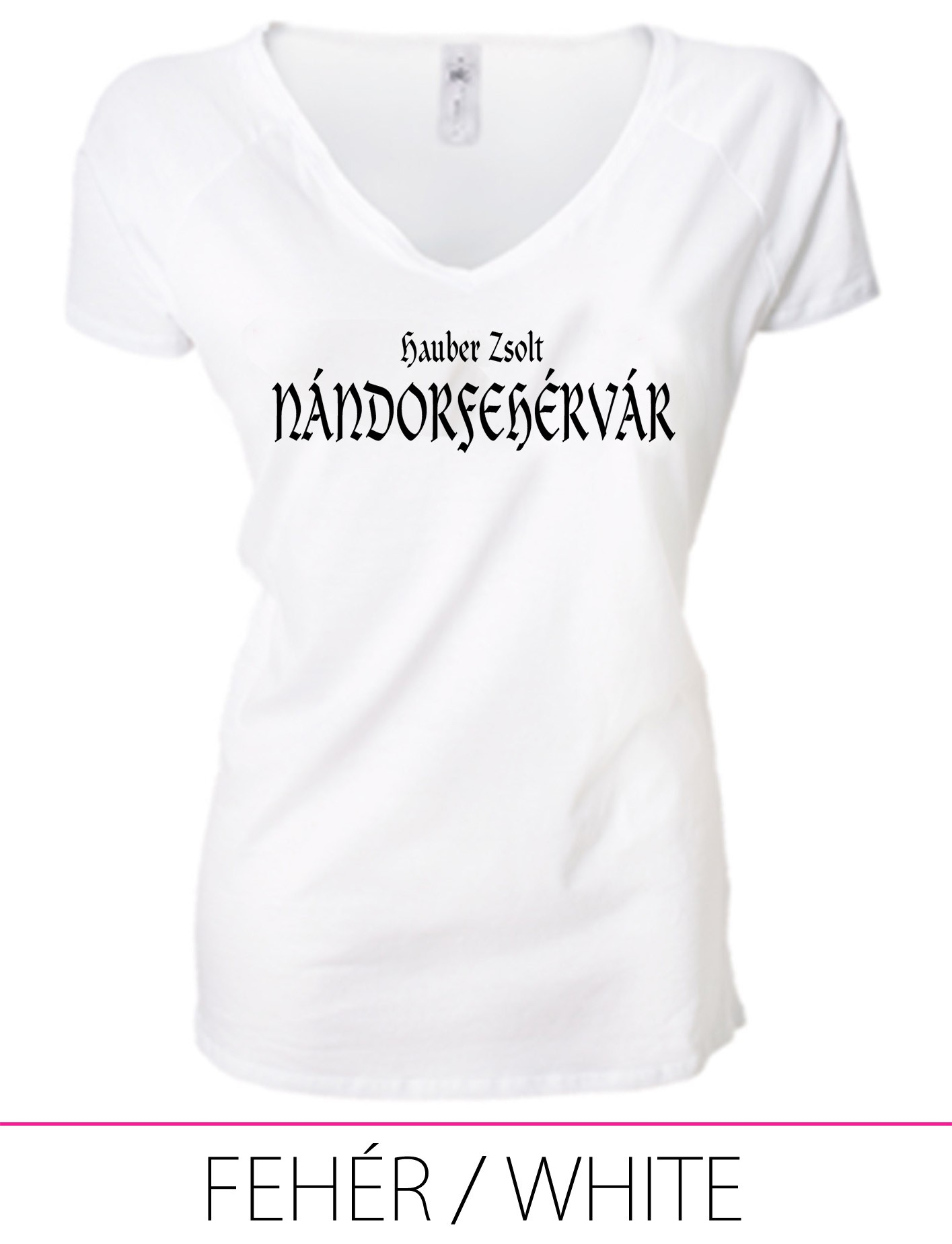LADIES PREMIUM V NECK T-SHIRT NÁNDORFEHÉRVÁR WHITE
