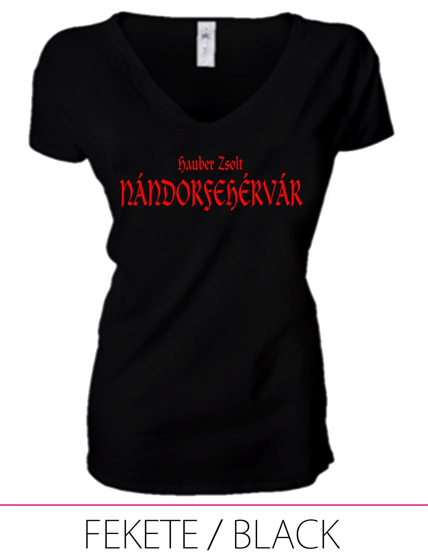LADIES PREMIUM V NECK T-SHIRT NÁNDORFEHÉRVÁR BLACK