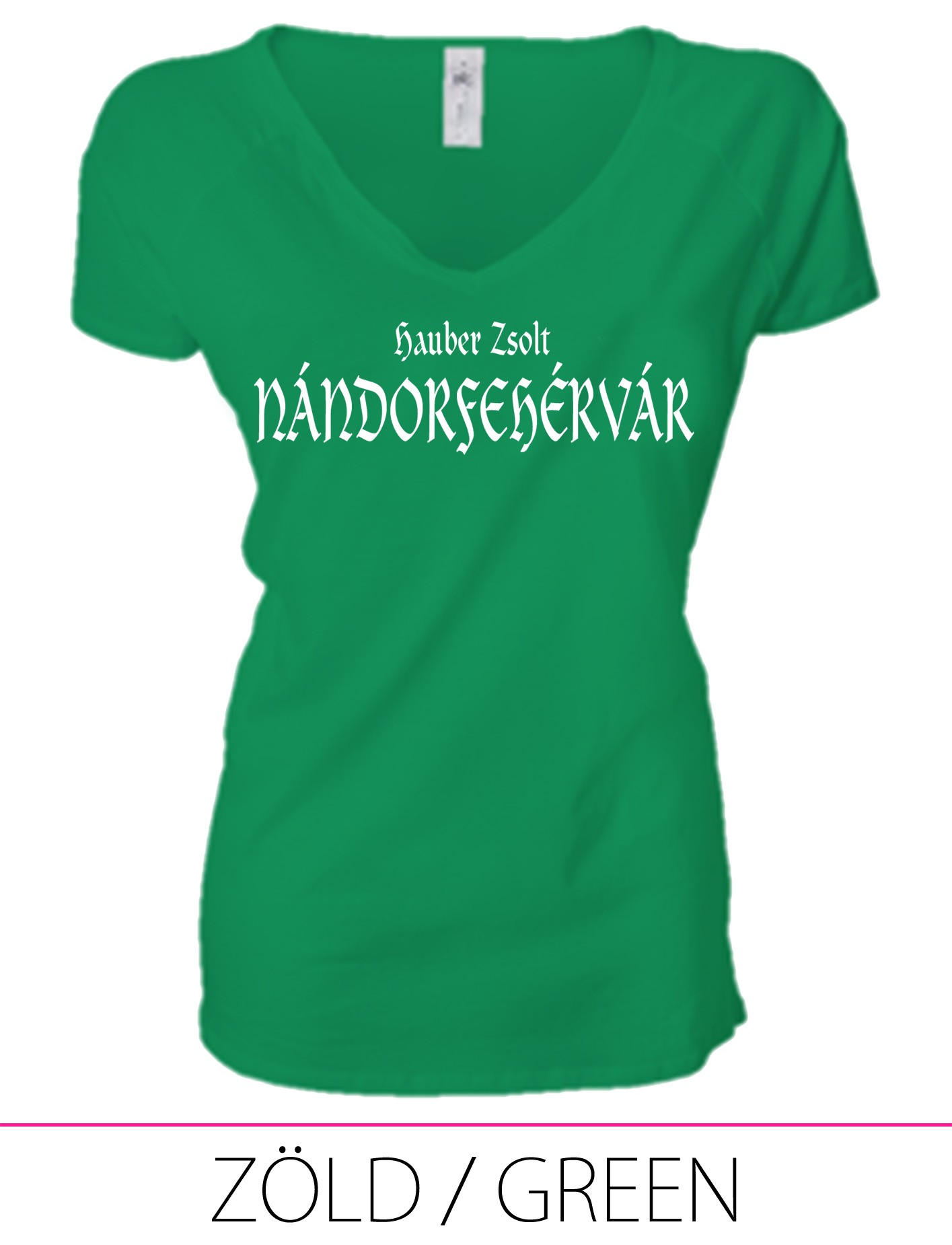 LADIES PREMIUM V NECK T-SHIRT NÁNDORFEHÉRVÁR GREEN